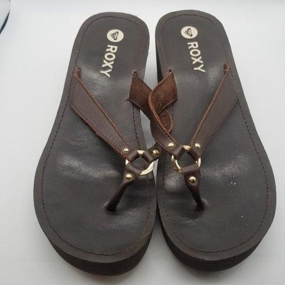 Roxy Brown Wedge Heel Flip Flops